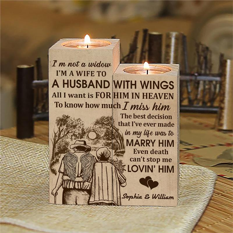 Old Couple Im Not A Widow Im a wife to a husband custom name candle 2