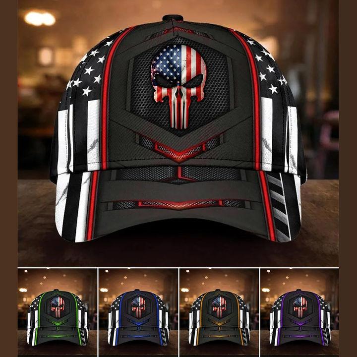 Punisher Skull American flag cap hat
