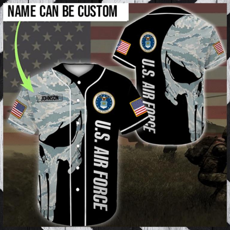 Skull US Airforce custom personalized name baseball jersey 1