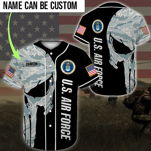 Skull US Airforce custom personalized name baseball jersey