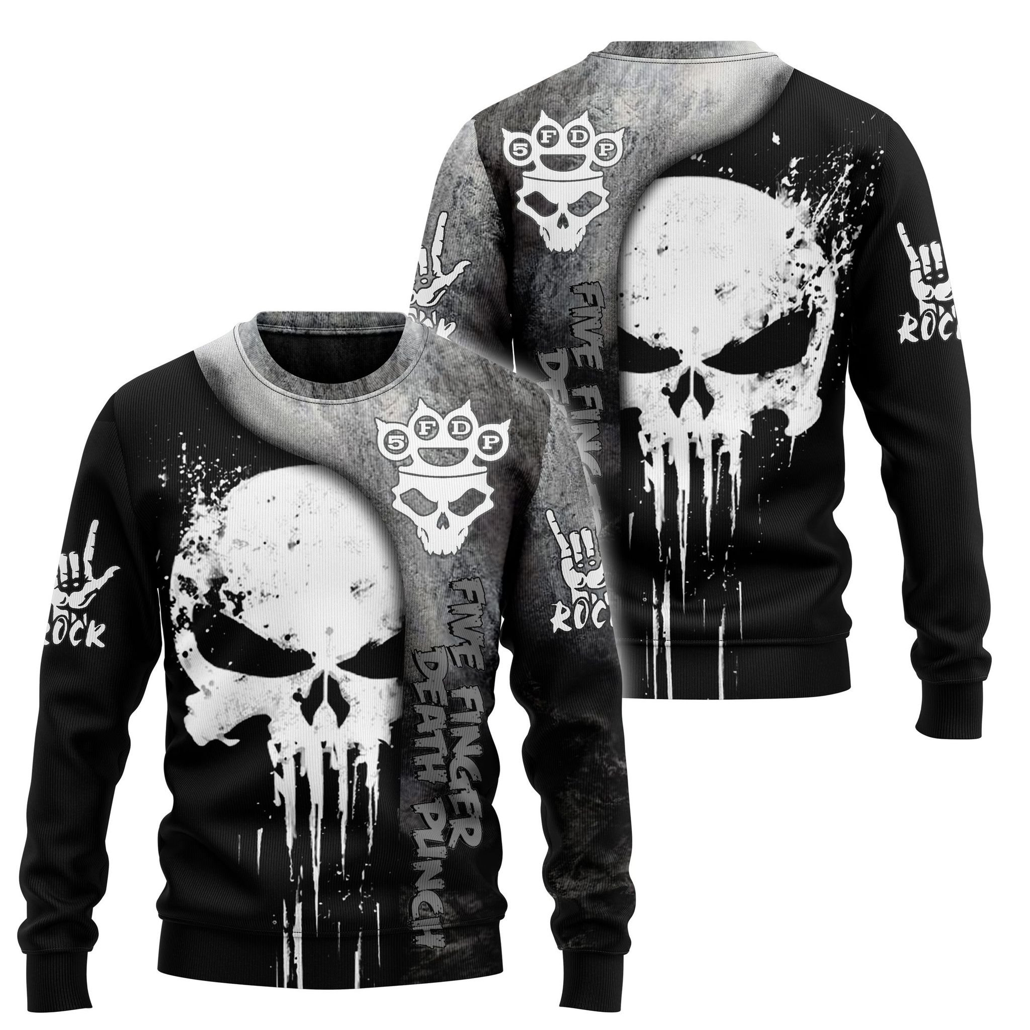 Skull five finger death punch 3d hoodie and shirt 1