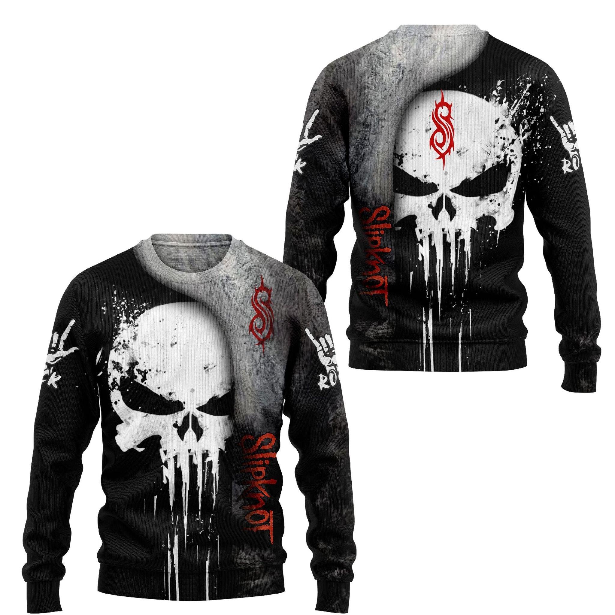 Slipknot skull 3d hoodie and shirt 1