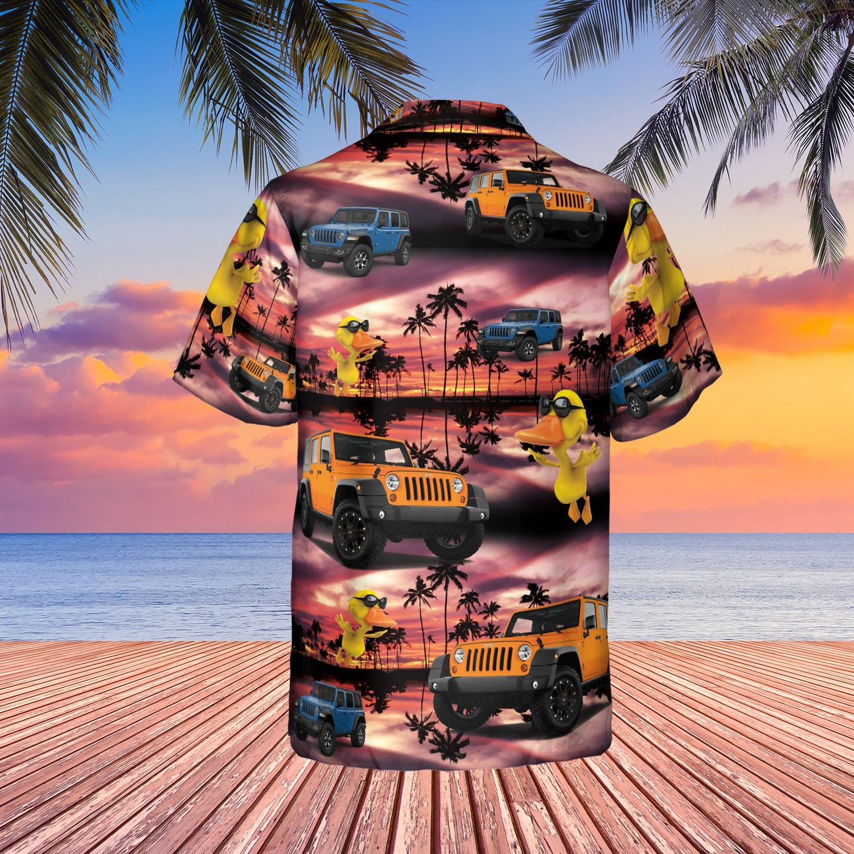 Sunset duck jeep Hawaiian shirt 1