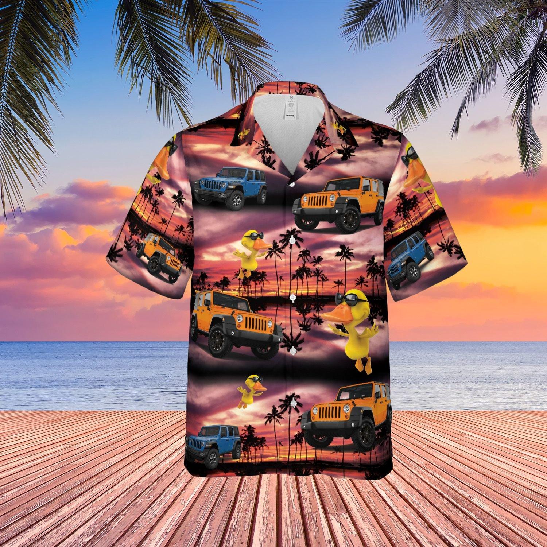 Sunset duck jeep Hawaiian shirt 2