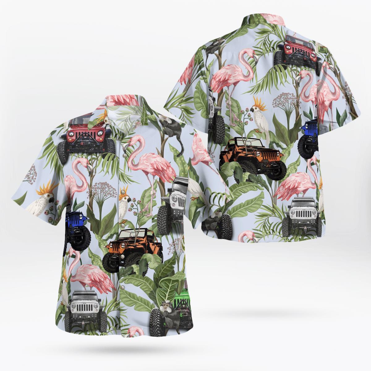 Tropical flamingo jeep Hawaiian shirt 1