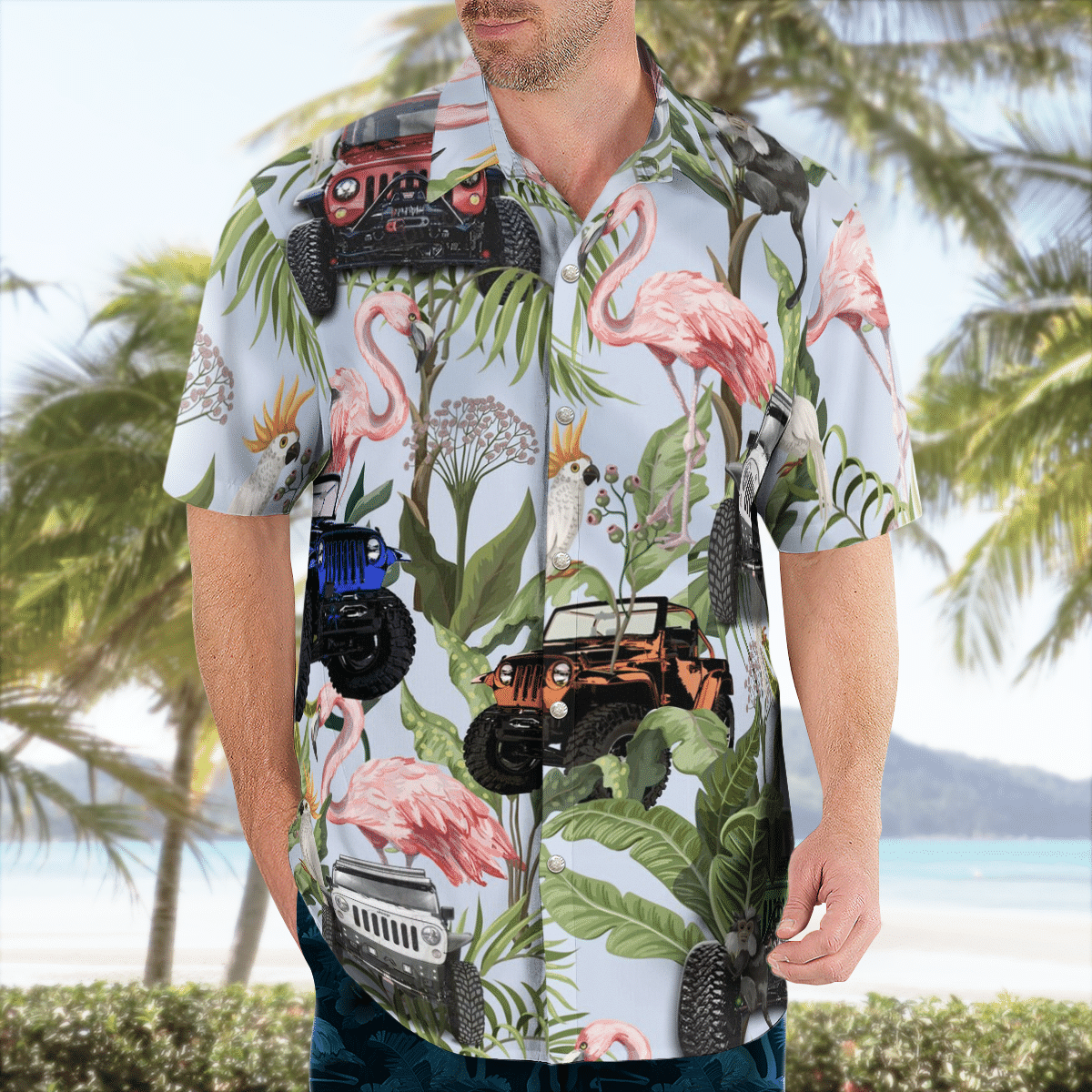 Tropical flamingo jeep Hawaiian shirt 4