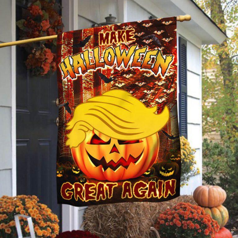 Trump Pumpkin make Halloween great again flag