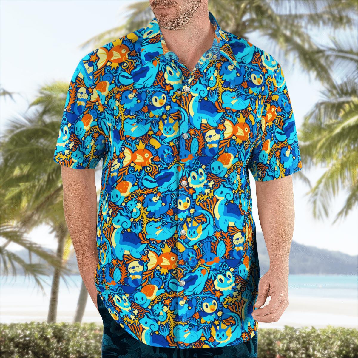 Water Pokemon Hawaiian shirt2